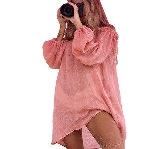 2020 Hot Cotton Beach Dress Cover Up Fashion Swim Beach Tunic Long Sleeve Beachwear Shoulder Bikini Women Cover Up Tunic#Y7