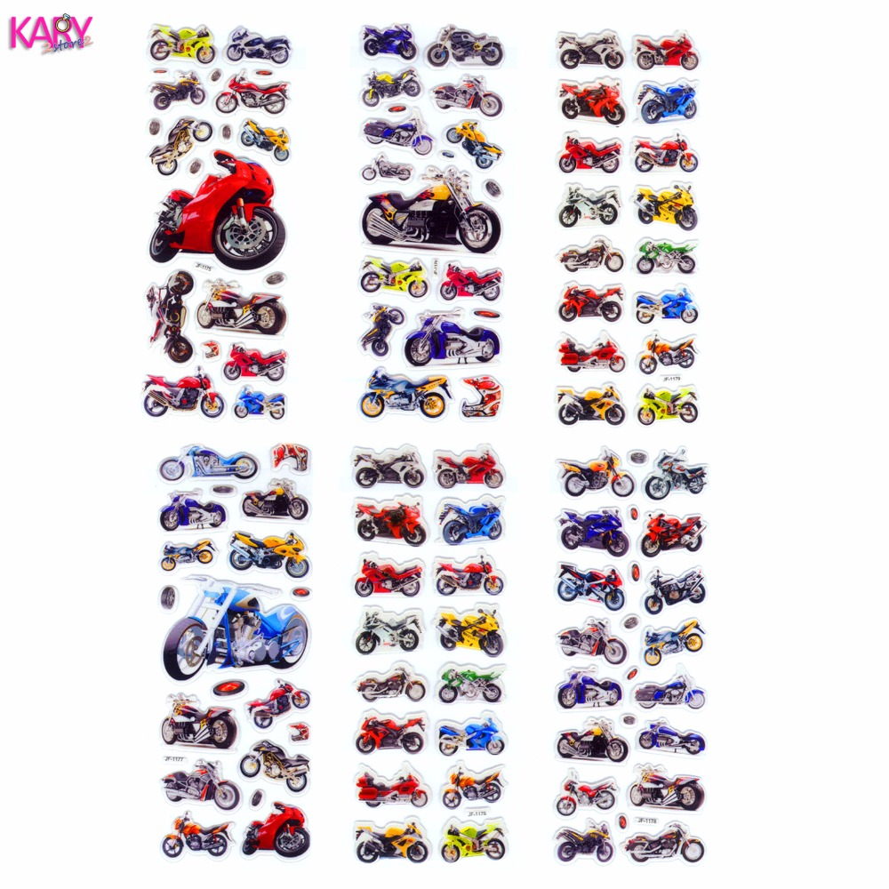 6 Sheets Motorcycle Motorbike Auto Racing Scrapbooking Kawaii Gifts Reward Kids Toys Bubble Puffy Stickers Factory Direct Sales