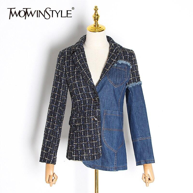 TWOTWINSTYLE Plaid Patchwork Denim Women's Blazer Notched Long Sleeve Pocket Hit Color Women's Suit 2019 Autumn Fashion New