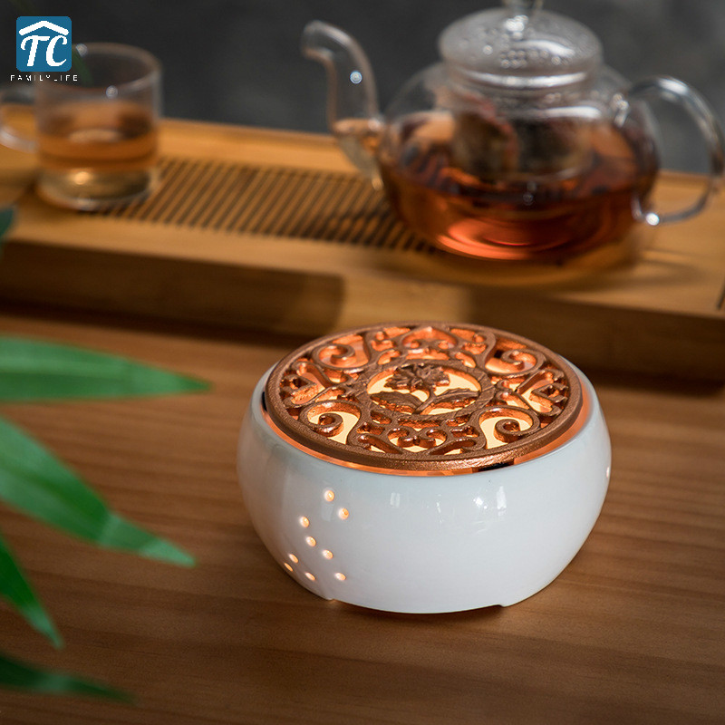 Ceramic Candle Heater Tea Pot Heating Base Tea Maker Filter Teapot Kettle Boiled Flower Tea Heated Warmer Wine Coffee Insulation
