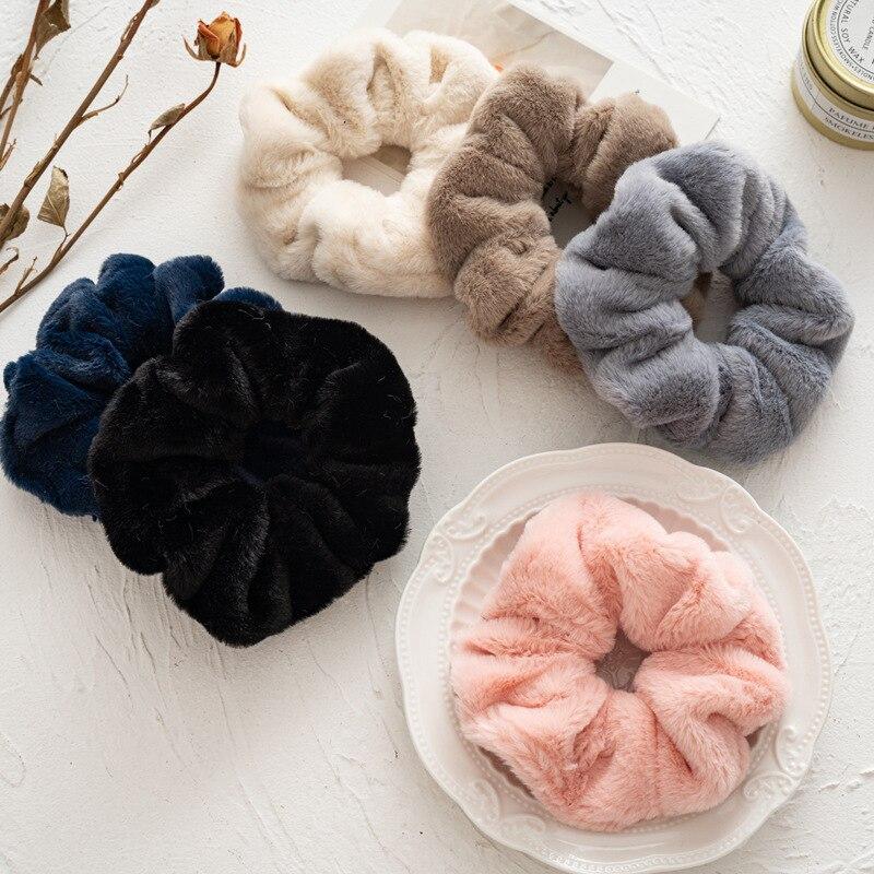 2021 kış sıcak yumuşak sevimli peluş Scrunchie kadın kızlar elastik saç lastik bantlar aksesuarları yuvarlak saç lastiği tutucu Headdress