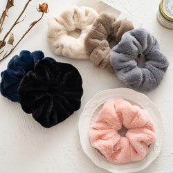 2021 Winter Warm Soft Cute Plush Scrunchie Women Girls Elastic Hair Rubber Bands Accessories Tie Hair Ring Rope Holder Headdress