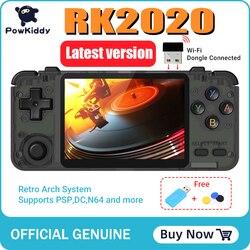 Consola de juegos 3D POWKIDDY RK2020, consola Retro de pantalla IPS de 3,5 pulgadas, consola de juegos portátil PS1 N64, reproductor de videojuegos