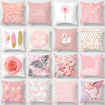 45*45cm Pink Feather Pillowcase Decorative Sofa Cushion Case Bed Pillow Cover Home Decor Car Cushion Cover Cute Pillow case pink feather pillowcase decorative sofa cushion case bed pillow cover home decor car cushion cover cute pillow case 45 45cm