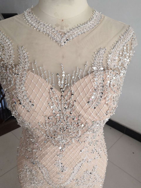 2021 Luxury Sheer Neck Mermaid Prom Dresses Beadings Sequined High Split Gowns Formal Mother of the Bride Dress Evening Wear 4