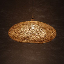 Modern pendant lamps Rattan Pendant light Weaving round Nordic Hanging Lamp Fixture Luminaire art lighting(China)