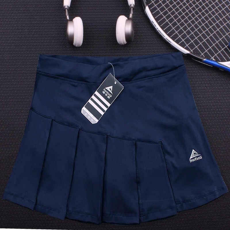 Sport Rock Tennis Skort Frauen Kontrast Farbe Atmungsaktiv Laufschuhe Seite Plissee Passenden Badminton Gürtel Tasche Anti-glare Rock