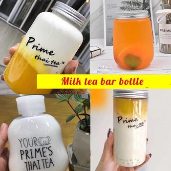 Butelka na napoje kubek do herbaty z pokrywką plastikowa prosta herbata mleczna butelka sok owocowy butelka na napoje mleko do kawy zabrać paczki tanie i dobre opinie 250 ml 10 Ekologiczne Z tworzywa sztucznego Pokrywa z otworem