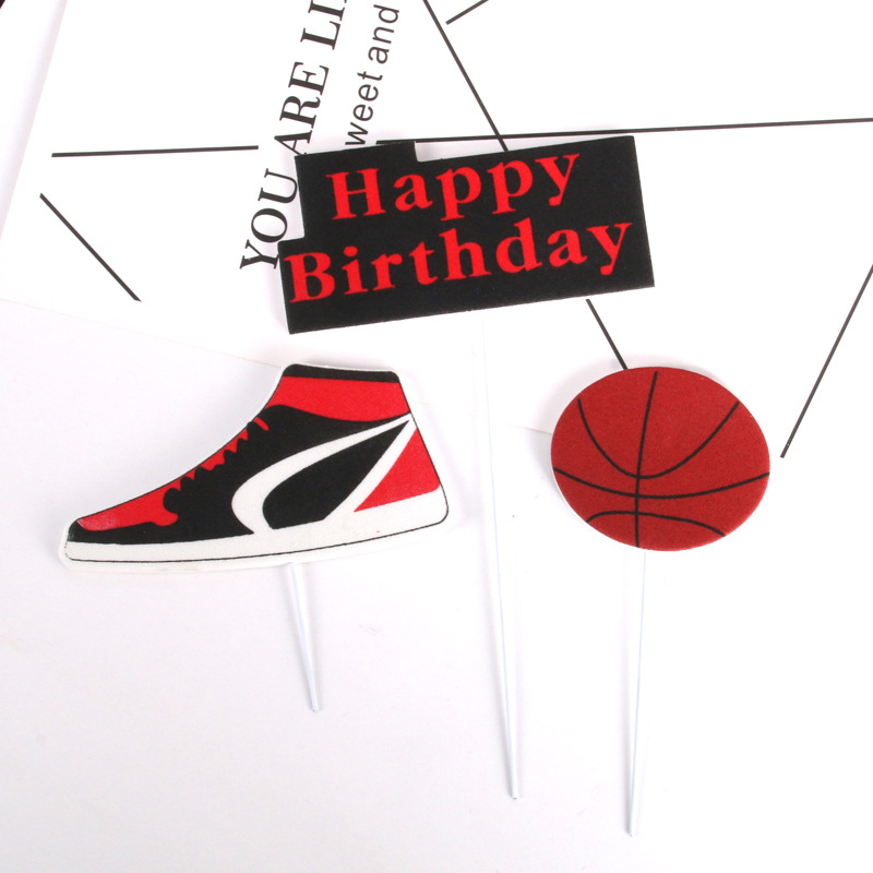 3pcs/set Cake Topper Basketball Sports Shoes DIY Cake Cupcake Toppers Boys Men Happy Birthday Party Wedding Dessert Decor Flags-5