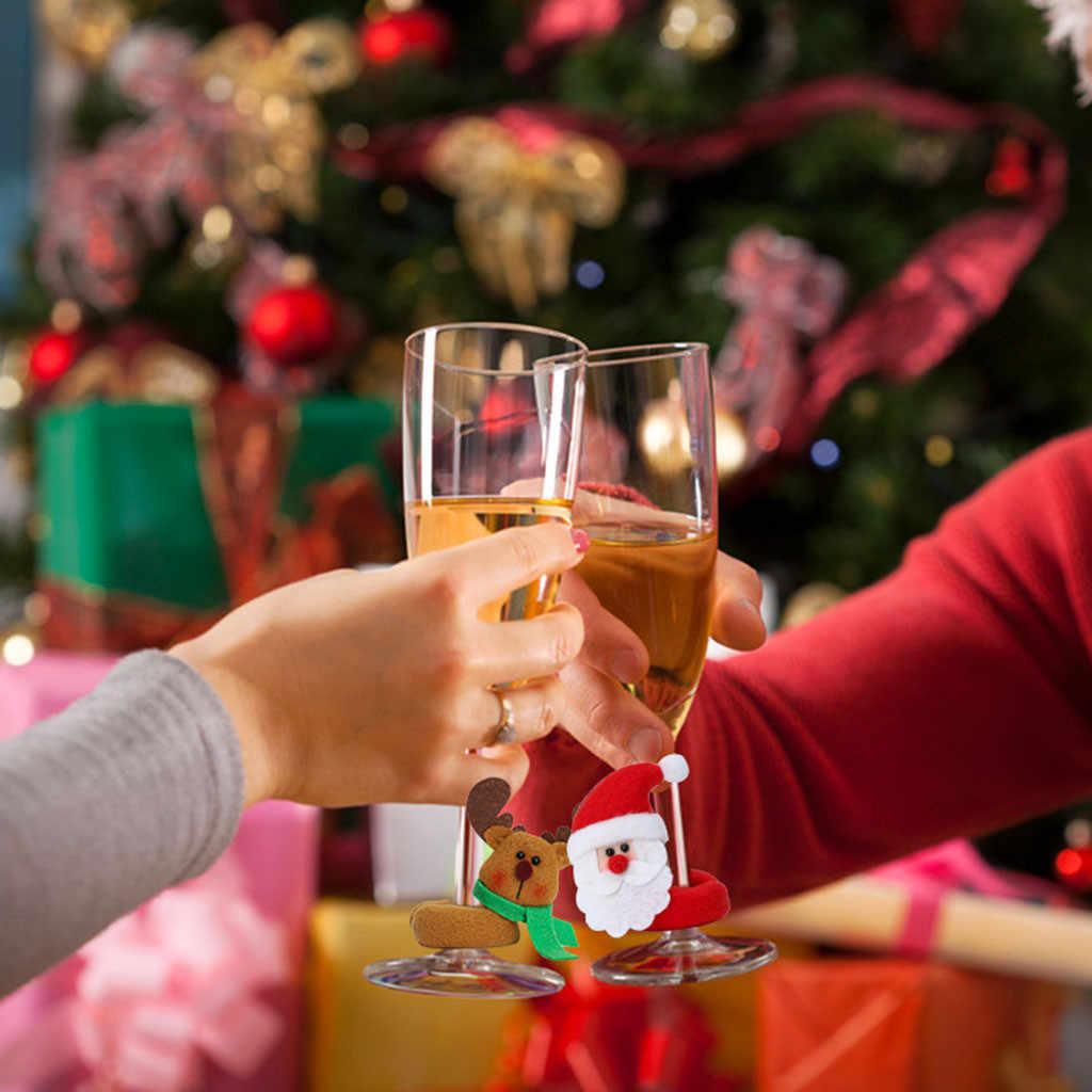 יין זכוכית סט חג המולד יין זכוכית סט יין בקבוק סט זקן שלג צבי חג המולד חגיגי מסיבת קישוט יין משקפיים