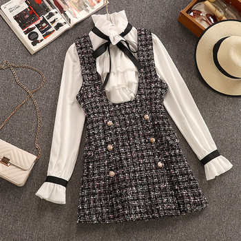 2020 Autumn Winter 2 Piece Set Overalls Dress Women Elegant Ruffles Chiffon Bow Shirt Top+Double Breasted Plaid Tweed Vest Dress 1