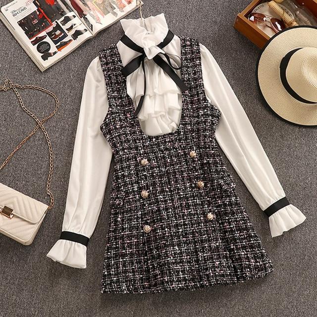 2020 Autumn Winter 2 Piece Set Overalls Dress Women Elegant Ruffles Chiffon Bow Shirt Top+Double Breasted Plaid Tweed Vest Dress 1