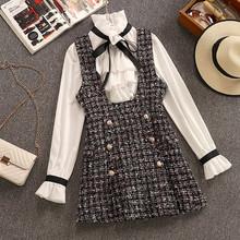 2020 jesień zima 2 sztuka zestaw kombinezony sukienka kobiety elegancki Ruffles szyfonowa koszula z kokardą Top + podwójne piersi chusta tweedowa kamizelka sukienka tanie tanio HAMALIEL CN (pochodzenie) COTTON Poliester A-LINE Osób w wieku 18-35 lat HW0502 Potargane Pełna Flare rękawem WOMEN Słodkie