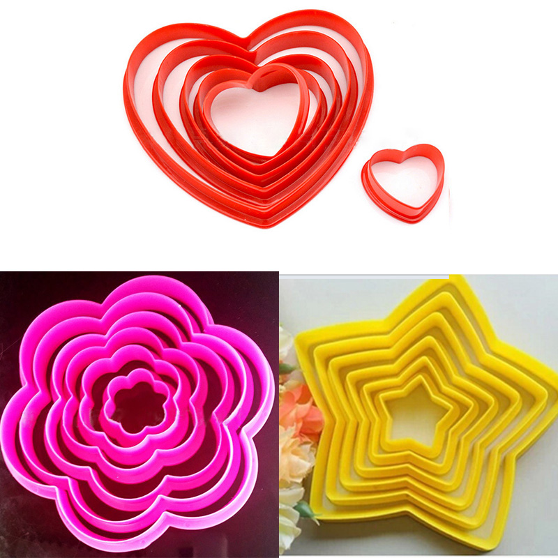 Baked Fondant Biscuits Chocolate Mold Five-Pointed Star Plum Heart-Shaped Cookie Pineapple Die-Cutting Baking DIY Mold Tool
