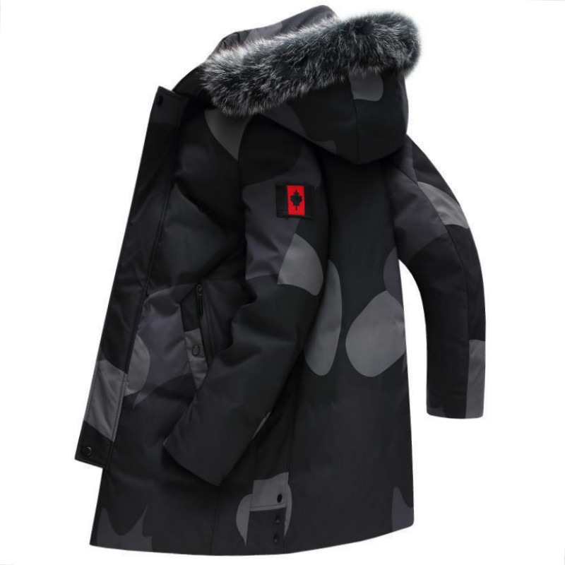 2019 New Fashion Men Coat Winter Fox Fur Collar Warm Basic Canada Jacket Zipper Patchwaork Hooded Parka Down Jacket
