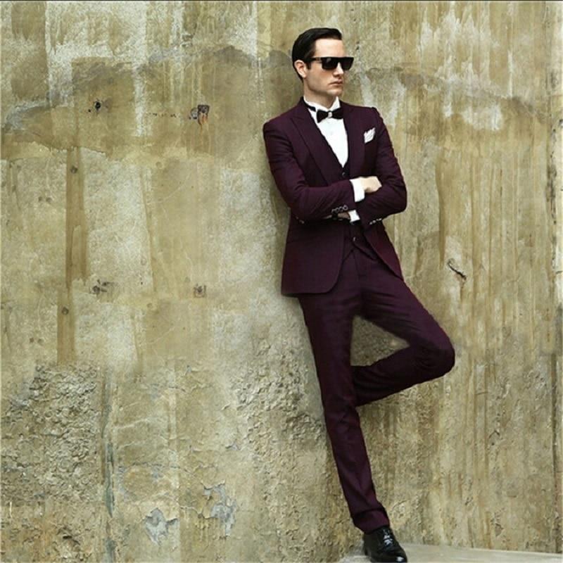 Amazing Burgundy Men Formal Outside Men Suit Casual Groom Wedding Tuxedos Custom Spring Slim Fitted Blazer (Jacket+Pants+Vest)