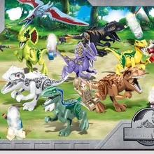 8pcs Jurassic Blocks World Dilophosaurus Tyrannosaurus Rex Dinosaur Eggs Figure Bricks Toys For Children B801