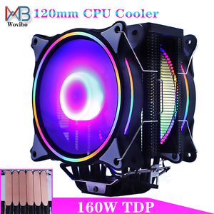 120mm CPU Cooler Radiator Fan 6 Heat Pipes RGB Fan 3 4PIN quiet for LGA 115X 1366 2011 V3 X79 X99 AM4 Motherboard Cooling Fans