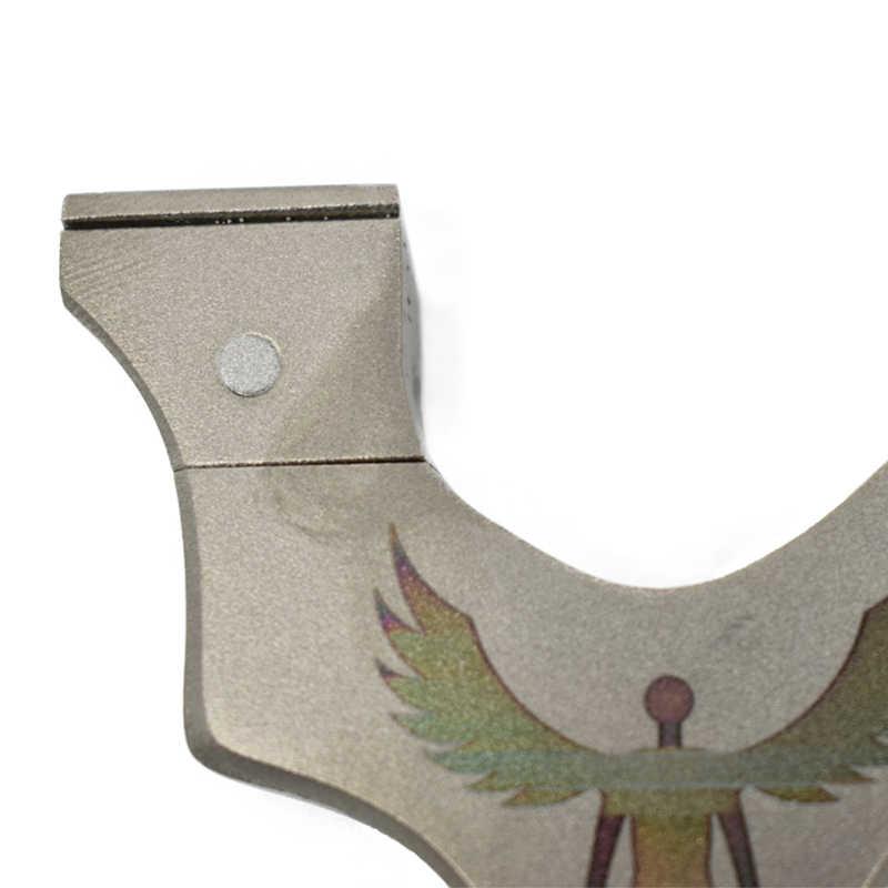 사냥을위한 고품질 스테인레스 스틸 새총 투석기 야외 촬영 사용 플랫 고무 밴드 강력한 핸드 헬드 활