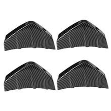 4pcs Car Carbon Fiber Look Rear Bumper Lip Diffuser Shark Fins Splitter Universal for Car Rear Bumper