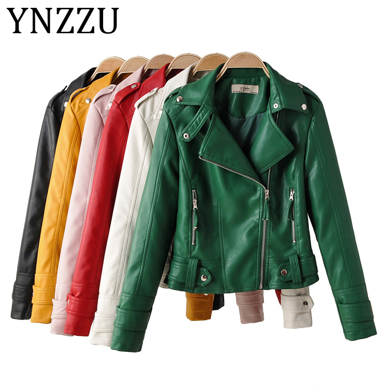 YNZZU 2019 Autumn Brand Fashion Street Short Washed PU   Leather   Jacket Women Green Zippers Ladies Faux   Leather   Biker Coat A1136