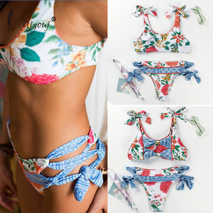 Image 4 - Miyouj maillot de bain maillots de bain femmes imprimé fleuri avec nœuds, soutien gorge Push Up, Bikini, ensemble deux pièces, pour les femmes, collection 2018