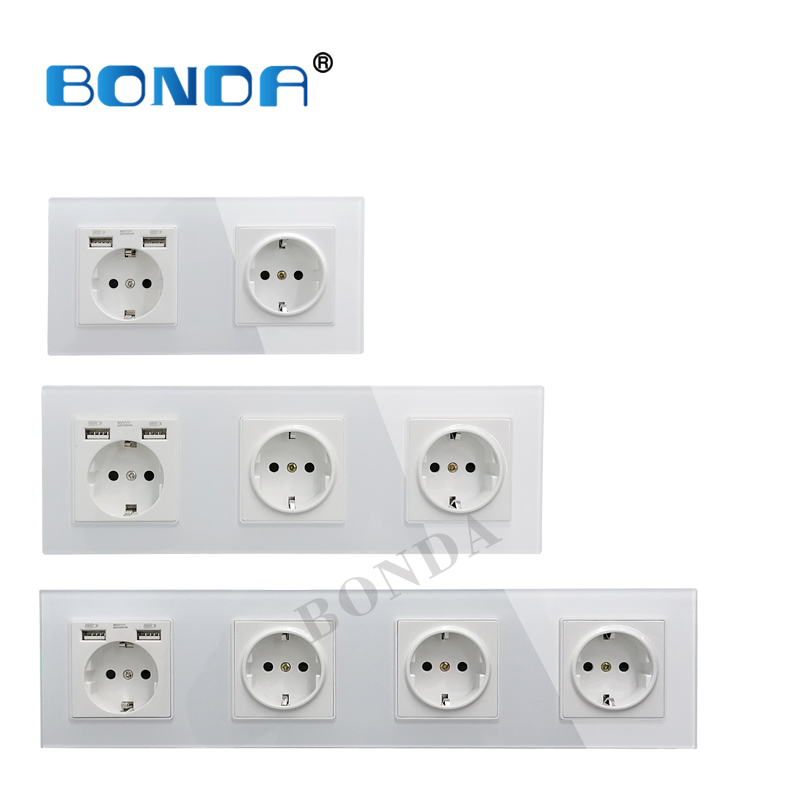 New EU Standard 16A USB Power Socket, Socket Panel, Three-layer Power Socket Without Plug, Crystal Tempered Glass AC110-250V