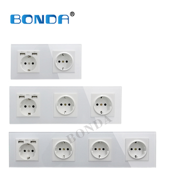 цена на New EU standard 16A USB power socket, socket panel, three-layer power socket without plug, crystal tempered glass AC110-250V