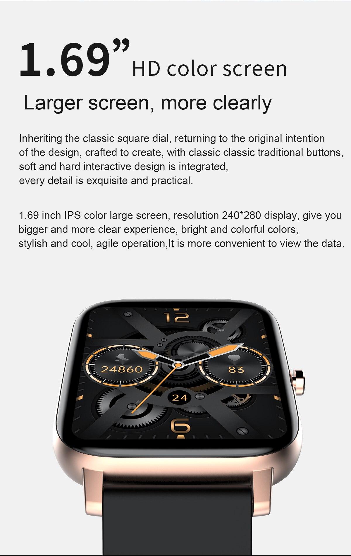 1.69 Polegada tela toque bluetooth relógio moda pulseira