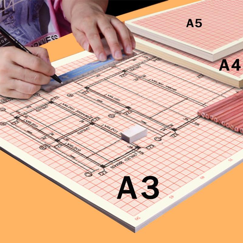 Standard A4/A3/A2 Calculation/Graph/Logarithmic/Coordinate Orange Grid Paper K-line Drawing Paper Student Manuscript Drafting