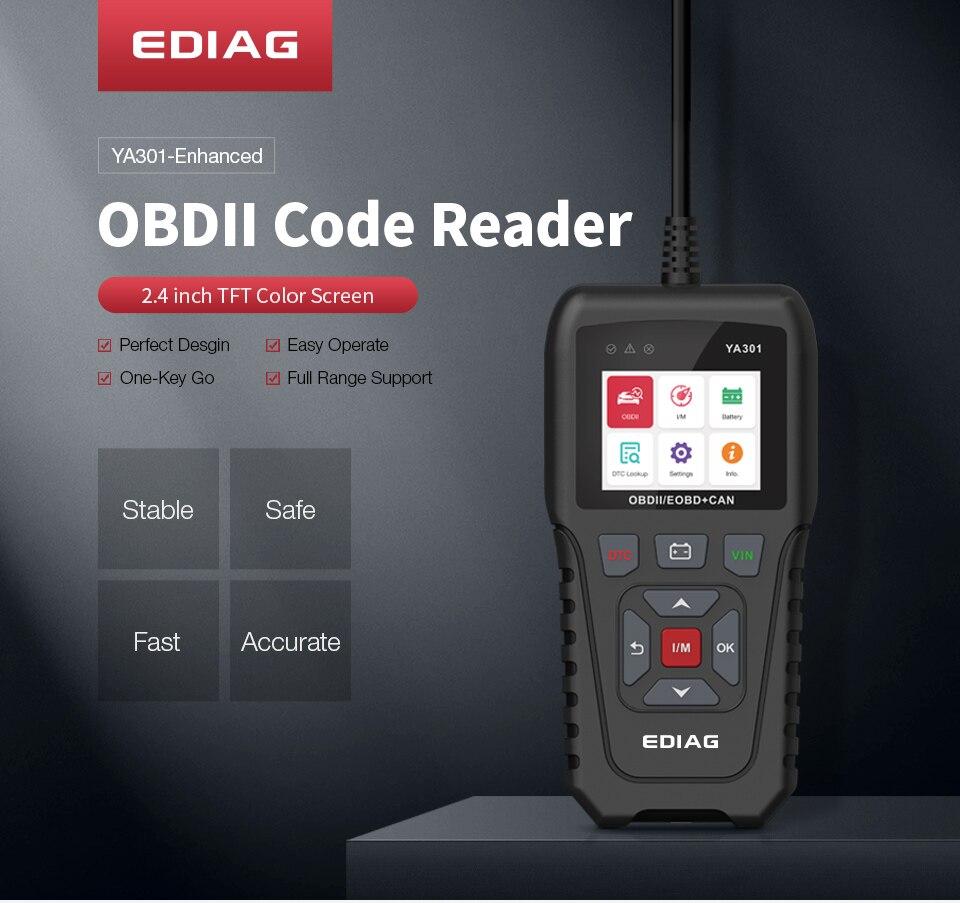 Ediag YA301 Code Reader OBDII/EOBD One-key VIN Read Battery Test YA-301 Diagnostic Tool OBD2 Scanner Free Update KW850 CR3001