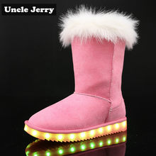 UncleJerry 2019 snowboots voor jongens meisjes en Vrouwen USB Opgeladen LED schoenen warm bont high-top licht up winter Laarzen(China)
