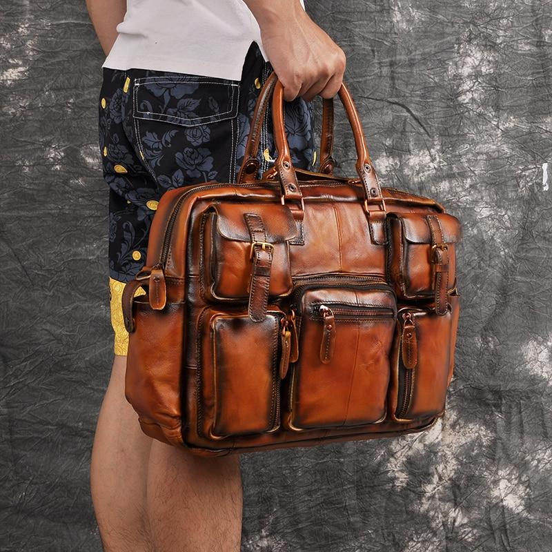 "Hbb0e1386f0a145f992721c22562cf0f2v Men Real Leather Antique Large Capacity Travel Briefcase Business 15.6"" Laptop Case Attache Messenger Bag Portfolio 3061-b"