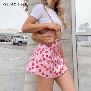 Boho Skirts Short Floral-Satin-Skirt A-Line Elegant High-Waist Womens Pink