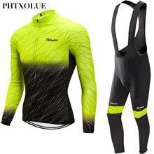 Phtxolue 2020冬の熱フリースサイクリングジャージセットmtbバイク服マイヨropa ciclismo invierno自転車サイクリング服