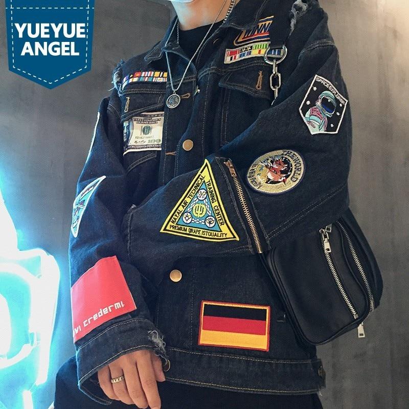 Denim Jackets Autumn New Long Sleeve Single Breated Lapel Hip Hop Badge Hole Ripped Zip Streetwear Mens Casual Loose Fit Coats