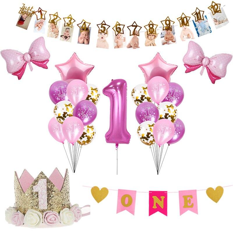 Декорации для первого дня рождения, золотой, розовый, синий