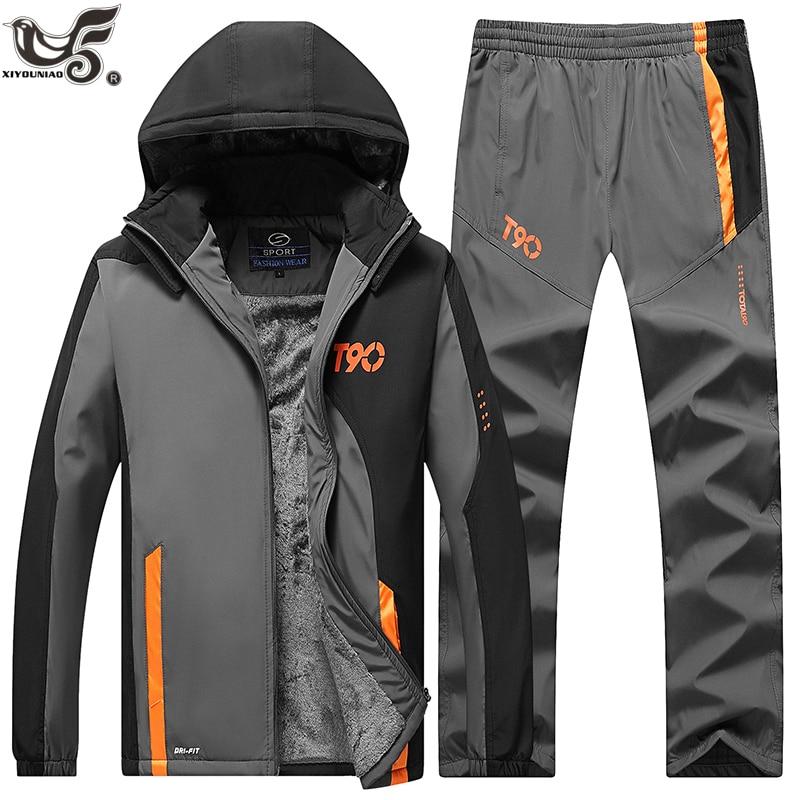 Causal Tracksuits Men Set hooded Thicken Fleece Hoodies Sweatpant Sportswear