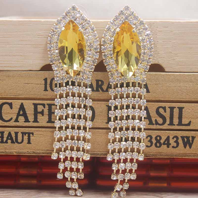Dangle Earring Clip on Back with Pad Crystal Multi Long Tassel for Women Girl Kid Party Jewelry Gift Box