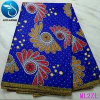 LIULANZHI Ankara Fabric Wax Polyester African Prints Fabric 6 yards/piece New Polyester Wax with Stones ML2ZL36
