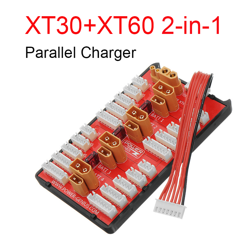 >2 IN 1 PG Parallel Charging Board XT30 XT60 Plug Supports <font><b>4</b></font> Packs 2-6S Lipo Battery For RC Models Spare Part DIY Tools