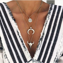 Bohemian Alloy Bull Head Moon Pendant Necklace Women Silver Color Oval Carved Eye Multi Layer Chain Jewelry bull s eye