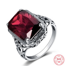 925 Sliver Red Diamond Ruby Ring for Women Fashion Bizuteria Topaz Gemstone Retro Ruby Engagement Simulated 925 Jewelry Ring(China)