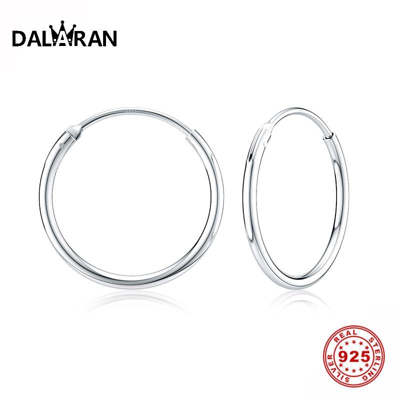 DALARAN Hoop Earrings 925 Sterling Silver Circle Round Huggie Hoop Earrings For Women Men Fashion Simple Jewelry