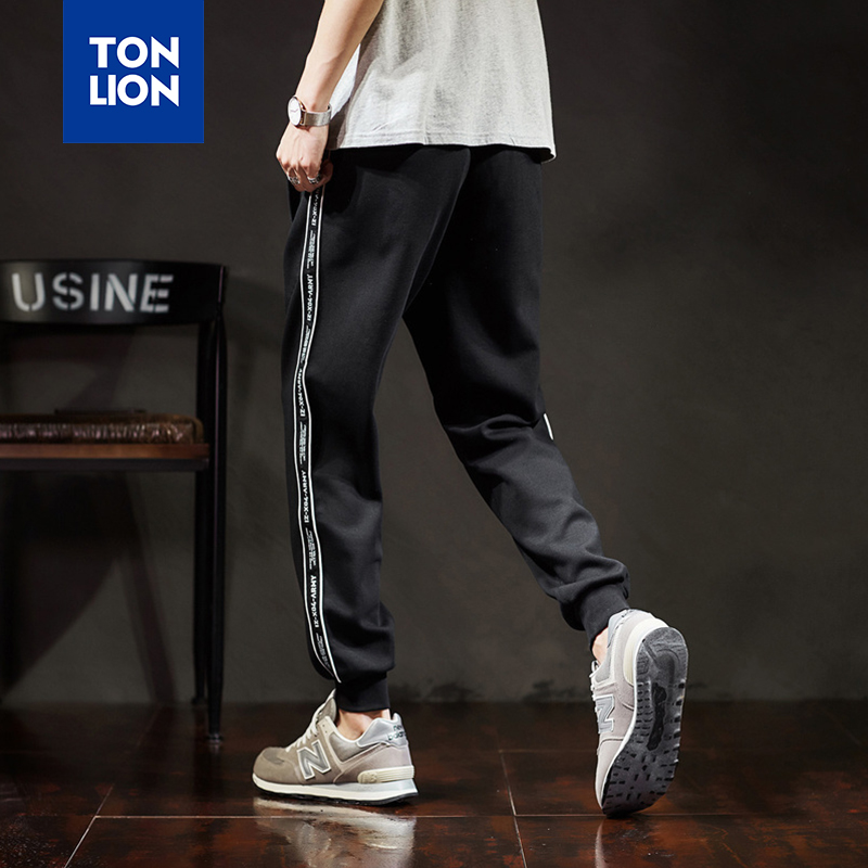 TONLION Knitted Trousers for Men Fashion Man Black Pants Sport Track Pants Side Strip Casual Pencil Pants for Men Elastic Waist