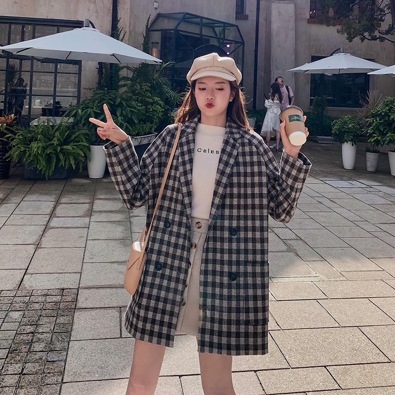 Casual Plaid Ladies Blazer Stylish Simple Loose Suit Jacket Veste Blazer Korean Retro Women's Clothing Spring Autumn MM60NXZ