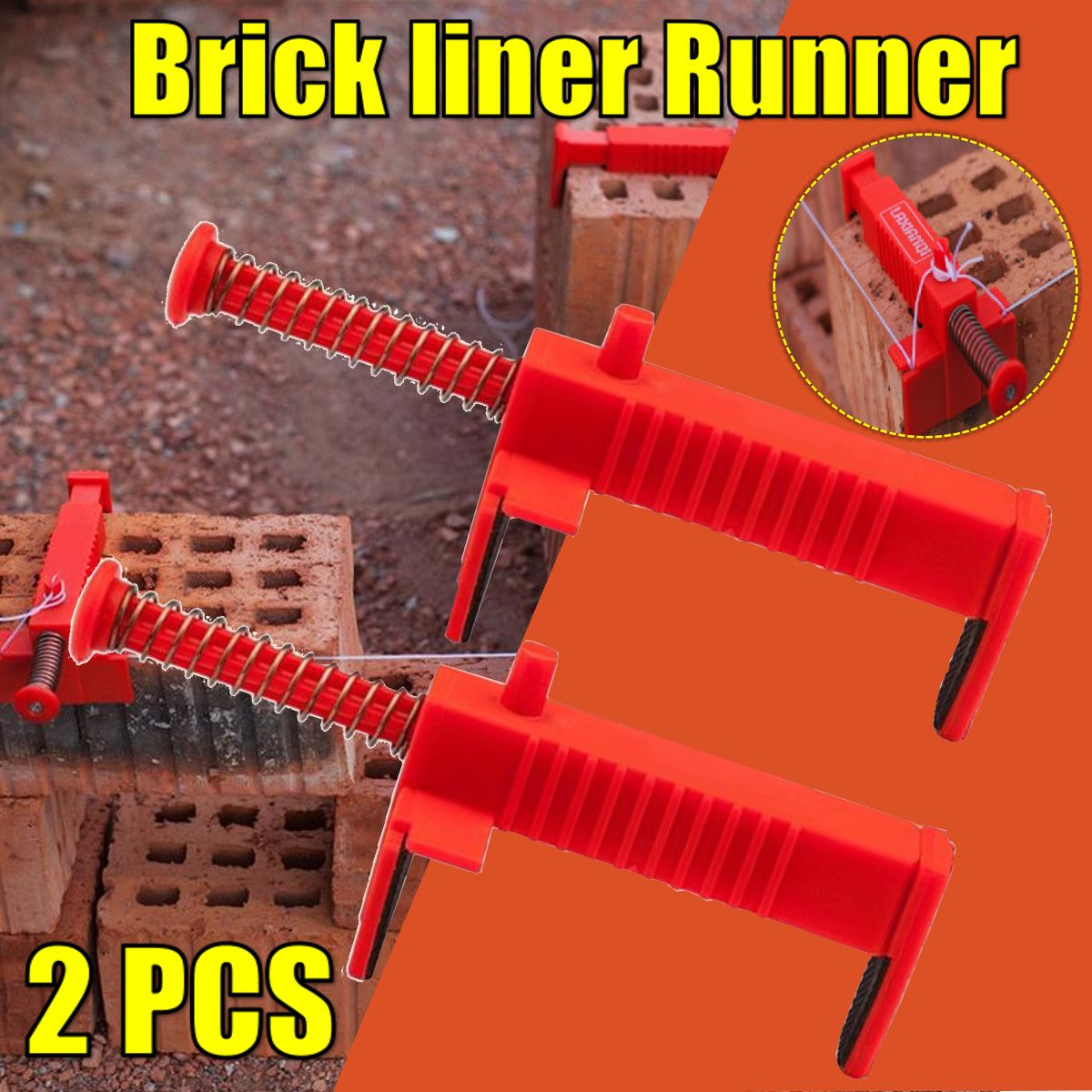 2Pcs Brick Liner Wall Builder Building Wire Frame Brick Liner Runner Wire Drawer Bricklaying Tool Fixer Building Construction