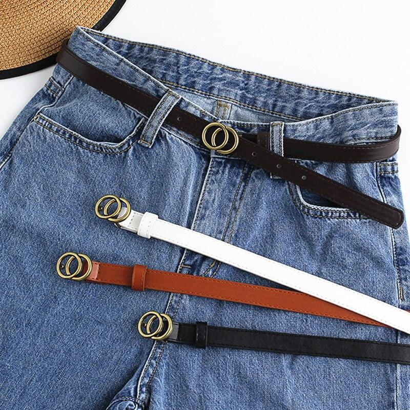 Fashion Woman Leather Black Belt Unisex Soft Wild Student Pants Belt Alloy Buckle Old Retro Belt Fine Snap Belt Accessories New
