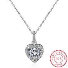 Женское ожерелье из серебра 925 пробы с кулоном в виде сердца