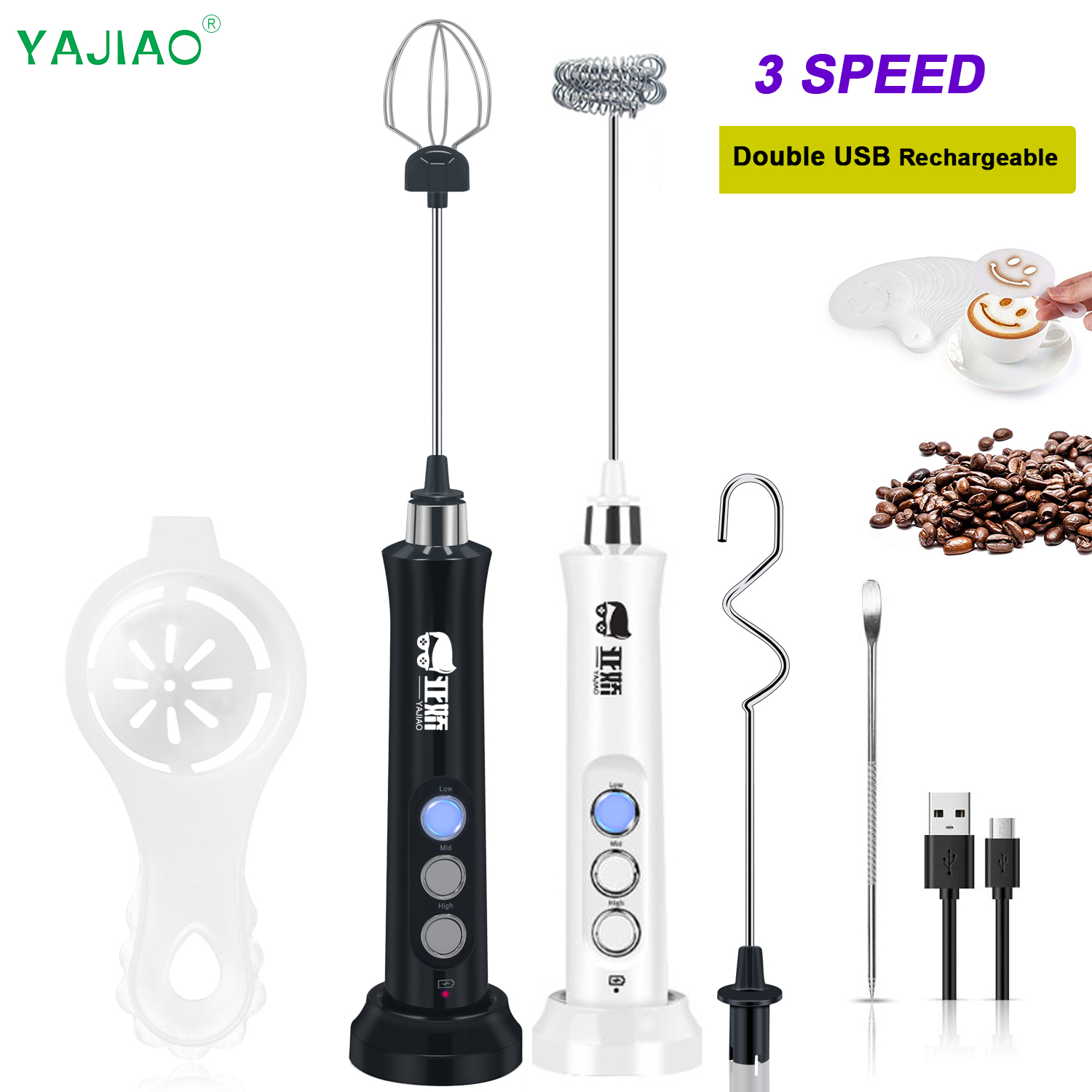 YAJIAO 2021 Electric Mixer Blender Milk Frother Handheld With USB Rechargeable Dock Bubble Maker Whisk For Coffee Cappuccino
